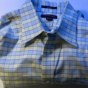 LANDS END Men's Long Sleeve Shirt No Iron Plaid